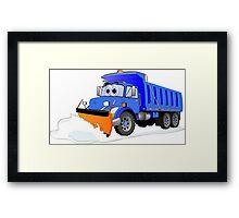 Blue Snow Plow Cartoon Dump Truck Framed Print