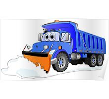 Blue Snow Plow Cartoon Dump Truck Poster