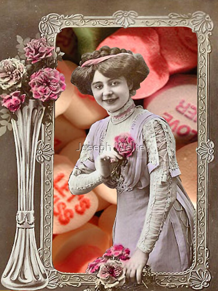 Vintage Valentine's Day Collage (Candy Hearts Lady) by Joseph Welte