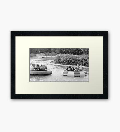 Bumper boat fun! Framed Print
