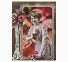 Vintage Valentine's Day Collage (Candy Hearts Lady) Kids Clothes