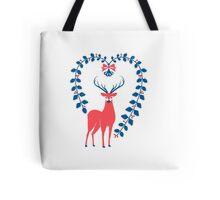 Folk Heartful Deer Tote Bag