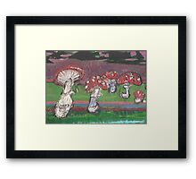 Amanita muscaria under pines Framed Print