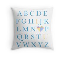 Alphabet I Love You Throw Pillow