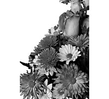 Half of Floral Arrangement in B & W Photographic Print