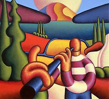 Soft gloss  musician with cottage in landscape by Alan Kenny