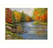 Fall Along the River Art Print
