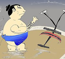 binary options cartoon of JPY getting smacked by sumo-sized trade deficit by Binary-Options
