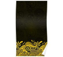 Ornamental Flowers - black and gold Poster