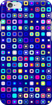 Retro Squares - Blue/Cyan [iPhone case] by Damienne Bingham