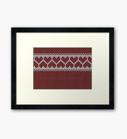 Knitted Fair Isle Hearts Framed Print