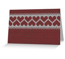 Knitted Fair Isle Hearts Greeting Card