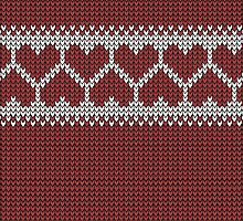 Knitted Fair Isle Hearts by rubywrendesigns