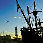 Sailing ship, Dusk, Port of Barcelona, Spain by buttonpresser