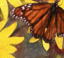 Beautiful Butterfly On Flowers Sticker