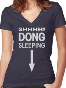 SHHHH! DONG SLEEPING Women's Fitted V-Neck T-Shirt
