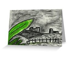 Black and white with a bit of Green Landscape  Greeting Card