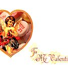 Cupid Comes Bearing Flowers & Candy (Vintage Valentine Greeting Collage)  by Joseph Welte