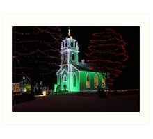 Church Decorated for Christmas Art Print