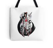 Geisha in White with Bamboo and Poinsettia Tote Bag