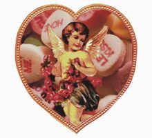 Cupid Comes Bearing Flowers & Candy (Vintage Valentine Greeting Collage)  Kids Clothes