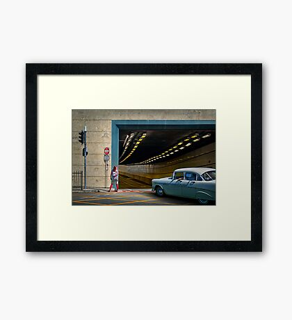 Downtown Drive-by Framed Print