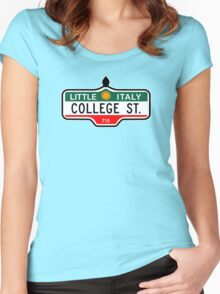 College Street, Toronto Street Sign, Canada Women's Fitted Scoop T-Shirt