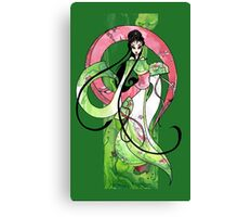 Geisha in Green with Koi and lotus Flowers Canvas Print