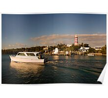 Ferry Boat and Lighthouse, Hope Town, Abaco, Bahamas Poster