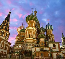 St. Basil church in Moscow, night view by vkph