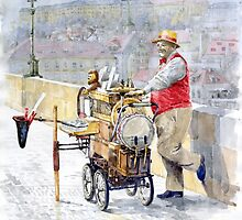 Prague Charles Bridge Organ Grinder-Seller Happiness  by Yuriy Shevchuk