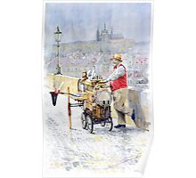 Prague Charles Bridge Organ Grinder-Seller Happiness  Poster