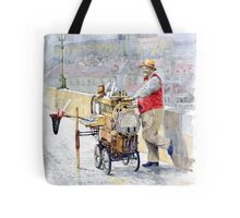 Prague Charles Bridge Organ Grinder-Seller Happiness  Tote Bag