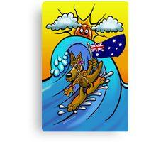 Aussie surfing kangaroo mum. Canvas Print