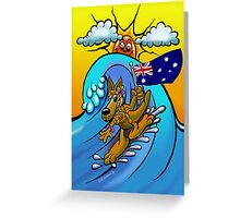Aussie surfing kangaroo mum. Greeting Card