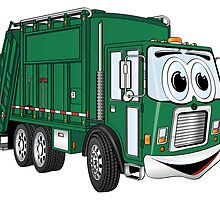 Green Smiling Garbage Truck Cartoon by Graphxpro