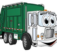 Green Cartoon Garbage Truck by Graphxpro