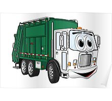 Green Cartoon Garbage Truck Poster
