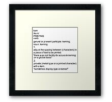 Kerning Definition Framed Print