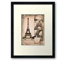 Eiffel Tower Paris Vintage Collage Framed Print