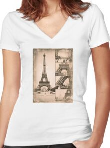 Eiffel Tower Paris Vintage Collage Women's Fitted V-Neck T-Shirt
