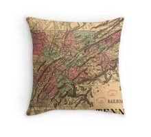 Vintage Tennessee Railroad Map (1888) Throw Pillow