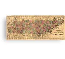Vintage Tennessee Railroad Map (1888) Canvas Print
