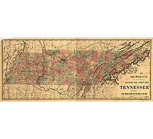 Vintage Tennessee Railroad Map (1888) Photographic Print