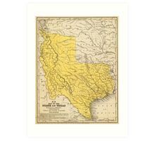 Vintage Map of Texas (1847) Art Print