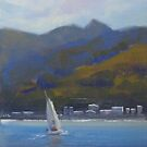 Sailing through Lyttelton, NZ by Tash  Luedi Art