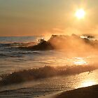 Waves Crashing In The Misty Sunrise by Geno Rugh