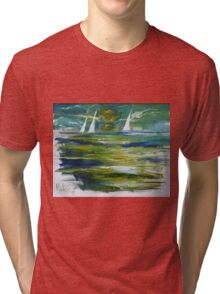 Green Seascape At Night 2005 Tri-blend T-Shirt