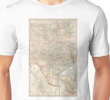 Vintage Map of Texas and Oklahoma (1891) Unisex T-Shirt
