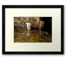 Reflections in a cave pool, Thailand Framed Print